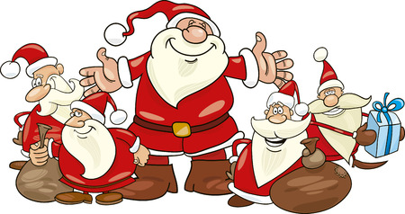 illustration of five santa clauses group