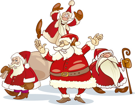 illustration of four santa clauses group Vector