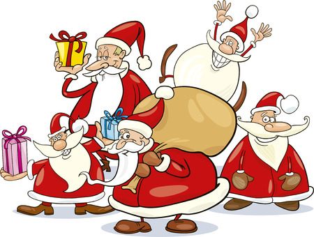 clauses: illustration of five santa clauses group