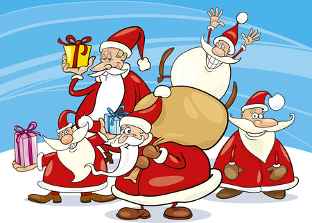 illustration of five santa clauses group Vector