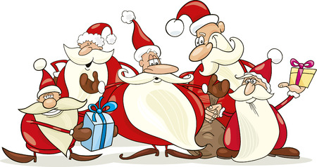 christmas funny: illustration of five santa clauses group