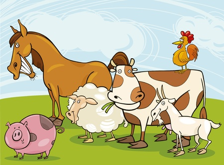 funny farm animals Illustration