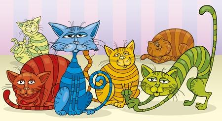 gato caricatura: Grupo de gatos de colores
