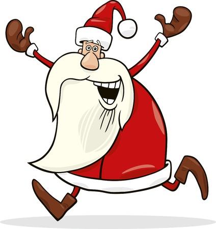 beard man: cartoon illustration of happy running santa