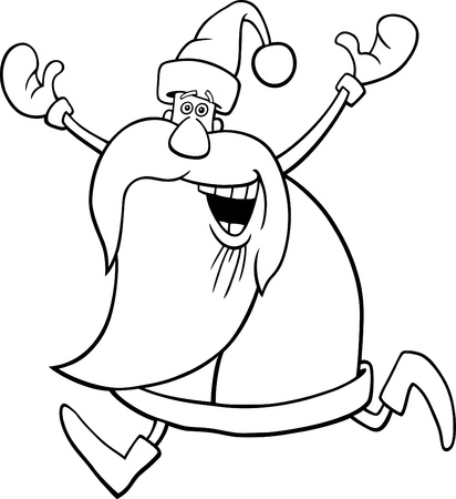 cartoon illustration of happy running santa for coloring book