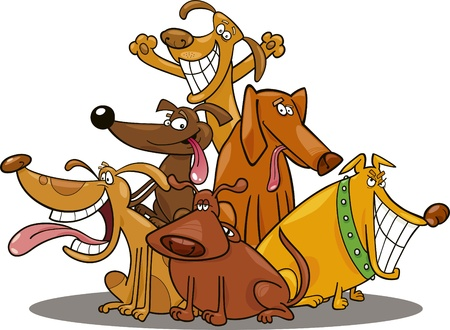 small group: cartoon illustration of funny dogs group