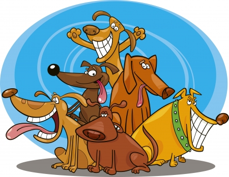 big smile: cartoon illustration of funny dogs group