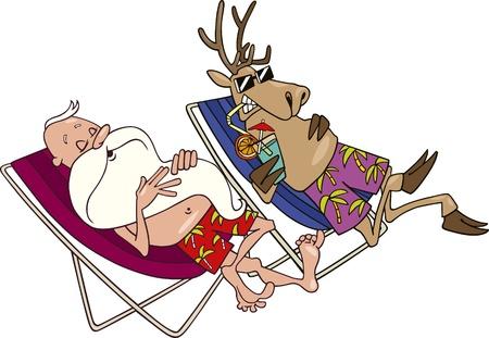 cartoon illustration of santa and reindeer having a rest Vector