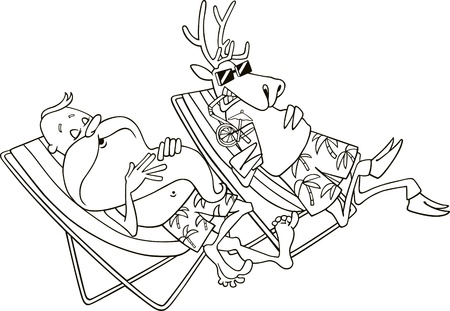 cartoon illustration of santa and reindeer having a rest for coloring book Vector