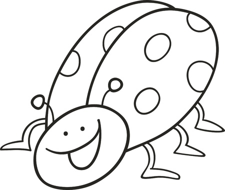 cartoon illustration of funny ladybug for coloring book Vector