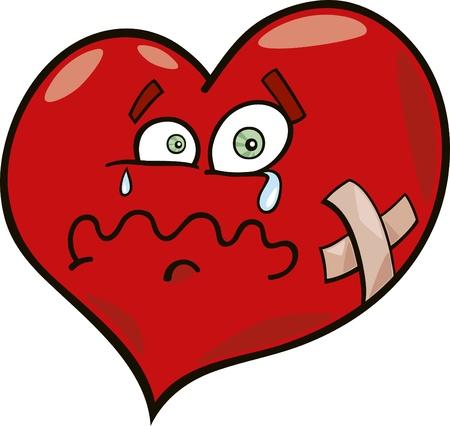 injured: cartoon illustration of broken heart