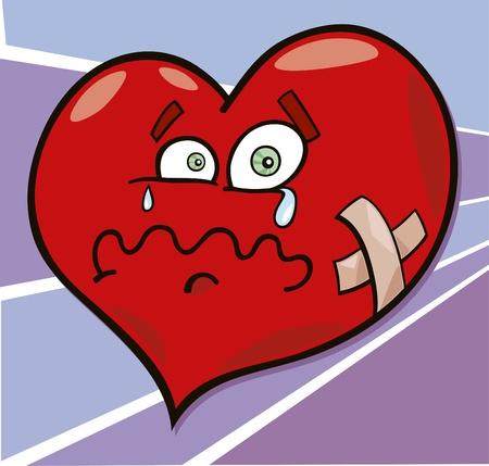 heart break: cartoon illustration of broken heart