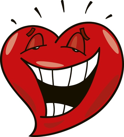 cartoon illustration of laughing heart