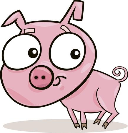cartoon illustration of cute little piggy Vector