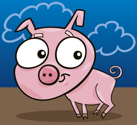 cartoon illustration of cute little piggy Stock Vector - 8592030
