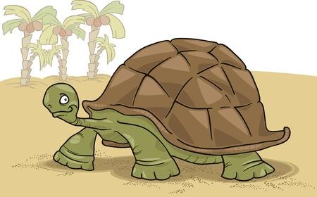 large turtle: cartoon illustration of funny big turtle