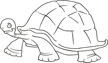 big turtle for coloring book Vector