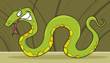 creeping: funny green snake Illustration