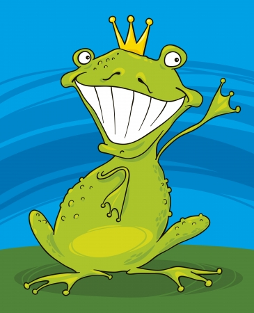 cartoon illustration of funny prince frog