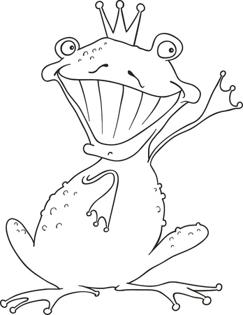 funny prince frog for coloring book Vector