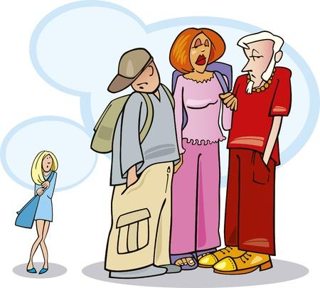 estudiantes de colegio: ni�a t�mida y sus amigos