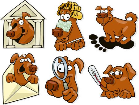 huellas de perro: Ilustraci�n de dibujos animados de conjunto de iconos de perro