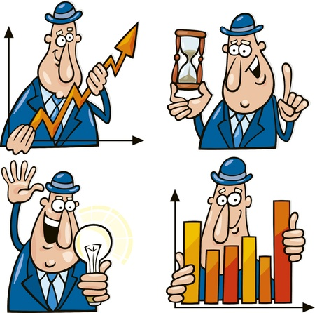 business concept cartoons with funny man Stock Vector - 8817626