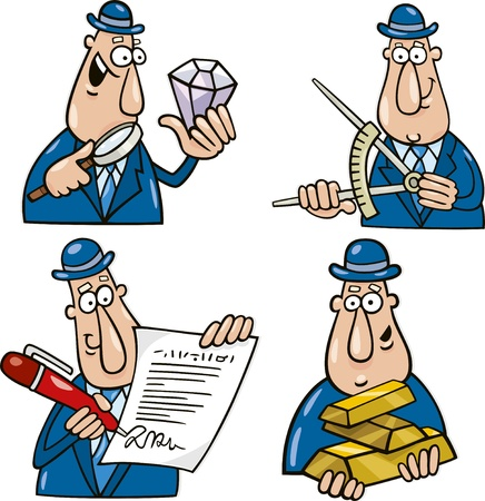 gold bar earn: business concept cartoon illustrations with funny man Illustration