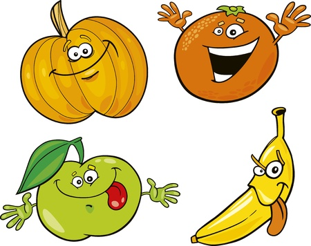 cartoon apple: funny fruits collection Illustration