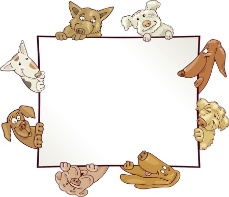 frame with funny dogs Vector