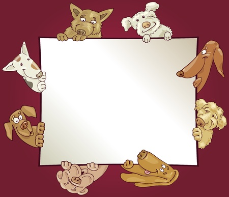 purebred: empty frame with funny dogs Illustration