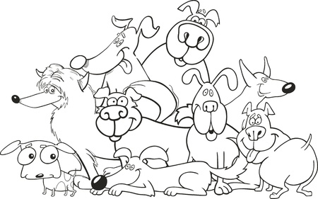 pointer dog: cartoon dogs group for coloring book