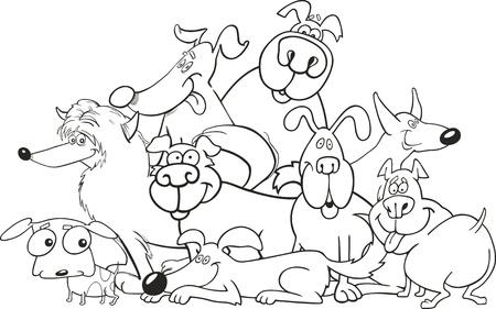 hocico: Grupo de perros de dibujos animados para colorear libro