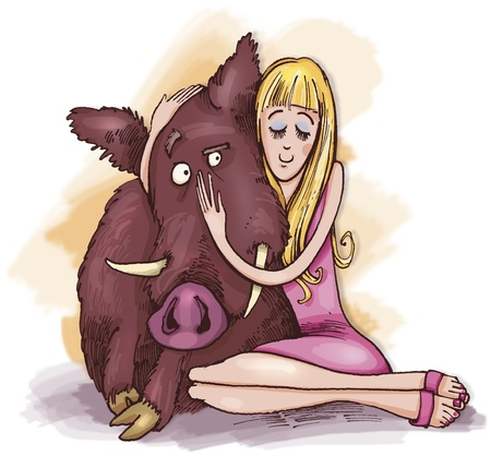 humorous illustration of woman with wild boar illustration