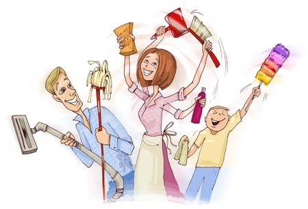 vacuuming: illustration of family doing spring cleaning