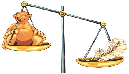 oversize: illustration of overweight man and feather on balance
