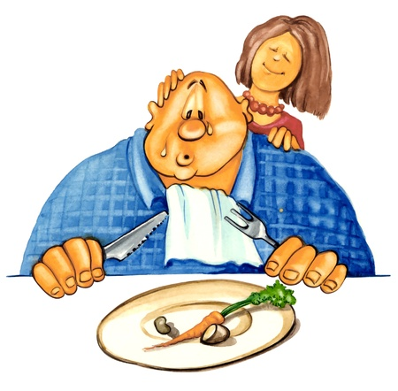 oversize: illustration of sad overweight guy on diet