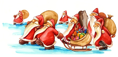clauses: Santa Clauses with gifts