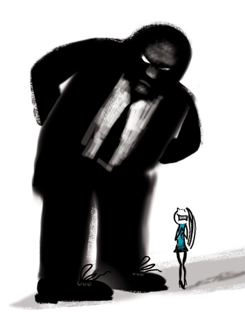 humorous illustration of bad boss and frightened woman illustration
