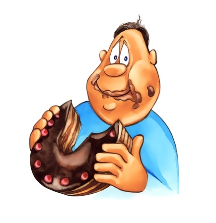 glutton: illustration of overweight boy eating big chocolate cake