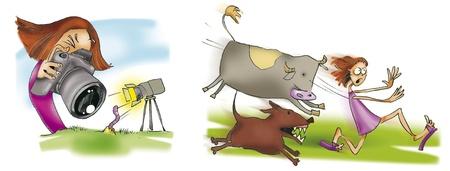 humorous illustration of teen girl and nature illustration