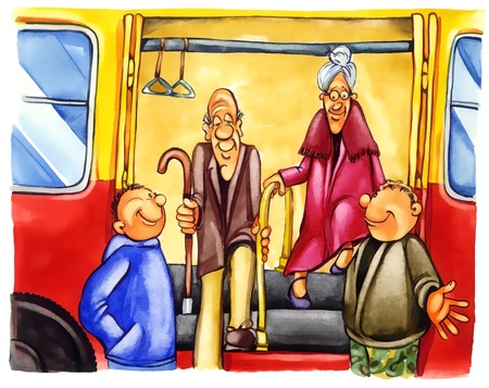 polite: painting illustration of kind boys on bus stop