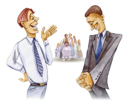 jurado: Ilustraci�n de dos abogados y jurado en la Corte