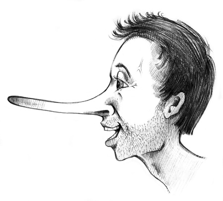 tricky: humorous illustration of guy talking lies Stock Photo
