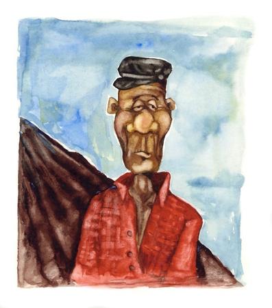 old farmer: humorous painting illustration of old farmer