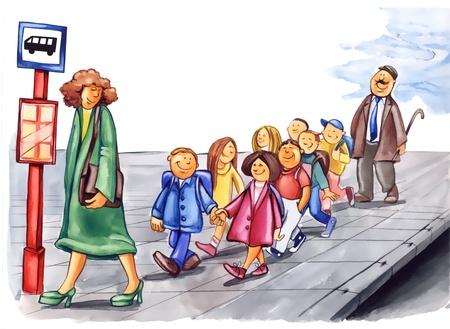painting illustration of polite children on bus stop illustration