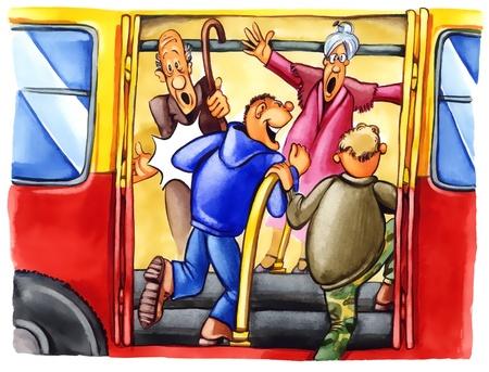 elder: painting illustration of naughty boys on bus stop Stock Photo