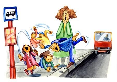 ni�os malos: Ilustraci�n de pintura de ni�os traviesos en parada de autob�s Foto de archivo