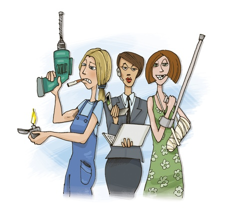 humorous illustration of three different women Stock Illustration - 9251411