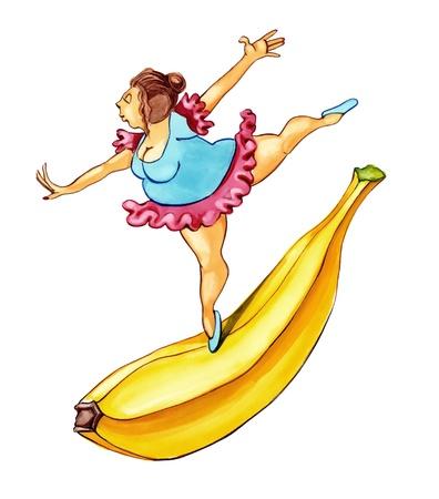 baile caricatura: Mujer obesa bailando sobre banano grande Foto de archivo